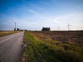 Strada deserta, passando attraverso i campi — Foto Stock