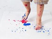Human foot printing footprint on peice of paper — Foto Stock