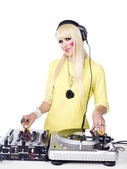 Portrait of a young female playing dj machine — Stock Photo