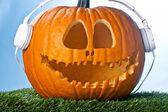 Pumpkin upbeat for halloween — Stock Photo