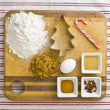 Stock Photo: 423 overhead view of cake ingredient on kitchen worktop