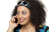 Shocked retro girl on cell phone — Stock Photo