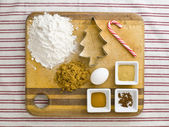 423 overhead view of cake ingredient on kitchen worktop — Stock Photo