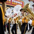 View of marching band playing brass instrument — Stock Photo