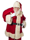 Jultomte med gåva väska — Stockfoto