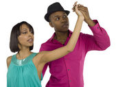 231 dancing young sweet couple — Stock Photo