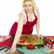 Wommaking christmas cookies — Stock Photo #19852425