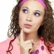 80s clothed girl thinking - Stock Photo