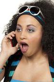Anos 80 menina surpreendeu no telefone — Foto Stock