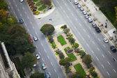 Road junction with vehicles and trees — Stock Photo