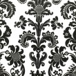 Black and white floral wallpaper — Stockfoto