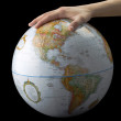 Hand holding globe — Stock Photo