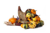 Wicker cornucopia of vegetables — Stock Photo