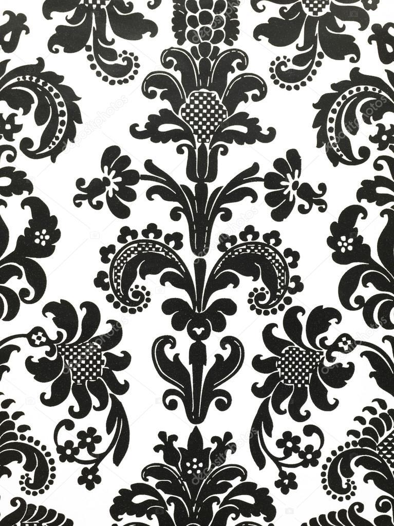 Papel pintado de flores blanco y negro foto de stock for Papel pintado blanco y negro