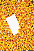 968 candy corns with placard — Stock Photo