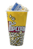 A bucket of popcorn with movie tickets — Stock Photo