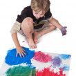 High angle view of boy doing painting — Stock Photo #19908981
