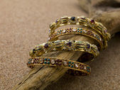118 golden bracelets — Stock Photo