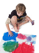High angle view of a boy doing painting — Stock Photo