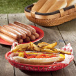 232 hotdog sandwich with french fries - Stock Photo