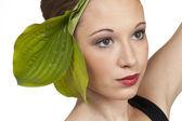 Saç geri teen model kafa vurdu çekti — Stok fotoğraf