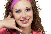 80 s chic girl gestures — Stock Photo