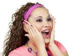 80s girl surprised — Stock Photo