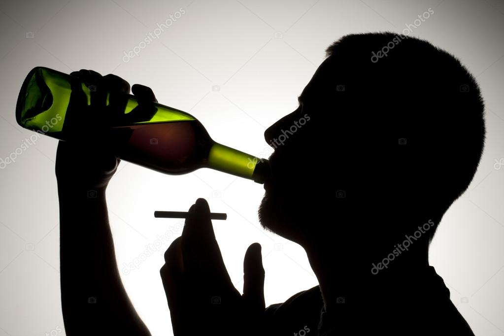 Drinking Wine Silhouette a Silhouette of Man Drinking