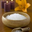 Spa salt with flower and candles — Stock Photo #19957353