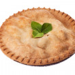 585 apple pie garnished with leaves — Stock Photo #19966787