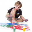 Elementary boy doing painting - Stock fotografie