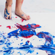 688 human foot imprinting colors on piece of paper - Stock fotografie