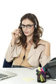 Female phone operator — Stock Photo