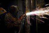 Image of a welder cutting metal — Stockfoto