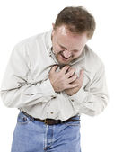 Old man clutching his chest — Stock Photo