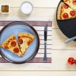 936 overhead shot of pizza in plate — Stock Photo #20238787