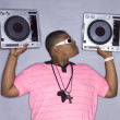 African american man with dj player — Stock Photo