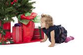 Uma menina rastejando pela árvore de Natal — Fotografia Stock