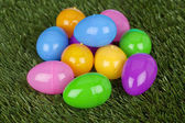 A bunch of easter eggs on the grass — Stock Photo