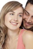 Un couple heureux et doux sourire — Photo