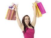 Alışveriş torbaları ile mutlu bir kadın — Stok fotoğraf
