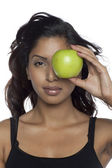 A healthy woman with apple — Stock Photo