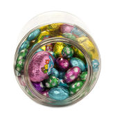 A jar with easter eggs — Stock Photo