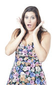 Attractive woman in surprised gesture — Stock Photo