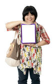 A woman with an empty board — Stock Photo