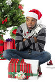 African american man waiting for midnight with hands crossed — Stockfoto