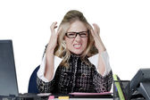 An angry female secretary — Foto Stock