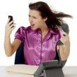Angry businesswomanswering calls — Stock Photo #20321973