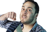 Angry man punch — Stock Photo