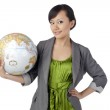 Attractive asian girl holding globe — Stock Photo #20336733